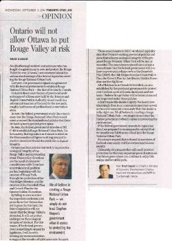 Brad Duguid editorial argues for commitment to Rouge ecosystem, Toronto Star, Sept. 3, 2014